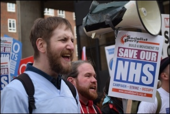 Health workers marching on the demo for the NHS, 4.3.17, photo by Mary Finch