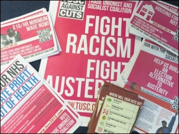 The Trade Unionist and Socialist Coalition (TUSC) is an electoral alliance between the RMT union, Socialist Party and others to give an electoral alternative to cuts-making and pro-capitalist politicians, photo Socialist Party