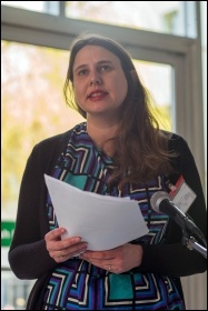 Socialist Party national youth organiser Claire Laker-Mansfield introduced the discussion on youth and student struggle, photo Paul Mattsson