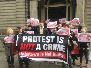 Protest outside Irish embassy, London, 23.3.17, photo by Sarah Wrack