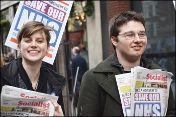 Socialist sellers on the national NHS demo, 4.3.17, Zoe Brunswick (left) photo Mary Finch