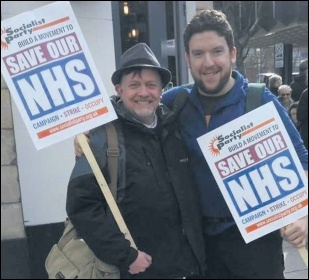 TUSC Doncaster mayoral candidate and NHS worker Steve Williams (left), photo Socialist Party