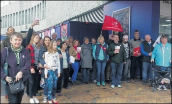 Bromley library workers and supporters on strike against privatisation, 1.4.17, photo Socialist Party
