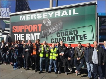 RMT members striking against DOO on MerseyRail photo RMT