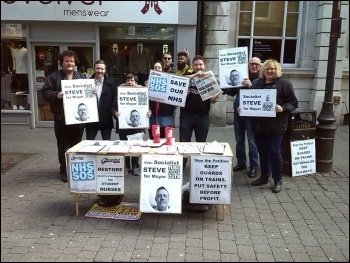 TUSC campaign stall in Doncaster photo Alistair Tice