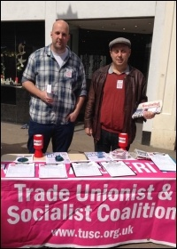 Matt Clarke (left) out campaigning photo TUSC
