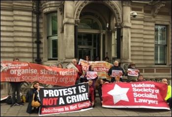 Solidarity protest for Jobstown defendants outside Irish embassy in London, 24.4.17, photo by Niall Mulholland