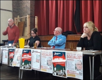 Birkenhead Socialist Party meeting, 24.4.17, photo by Hugh Caffrey