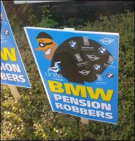BMW strike placard, April 2017, photo Nick Hart