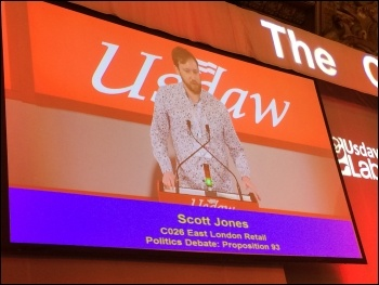 Scott Jones speaking at Usdaw conference, May 2017, photo by Isai