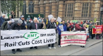 RMT members protesting outside parliament against DOO, 26.4.17, photo by Chris Newby