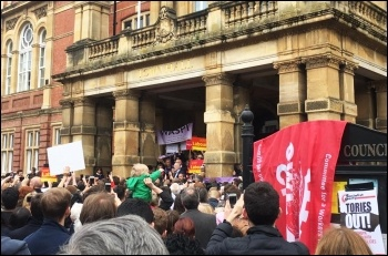 Socialist Party members join others at a rally for Jeremy Corbyn in Leamington - these rallies show the potential to build mass support, photo by Lenny Shail