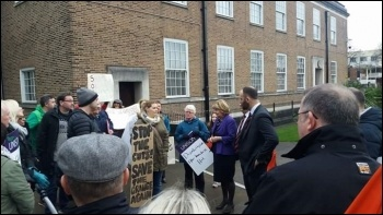 Parents confront Salford's Labour councillors photo Becci Heagney
