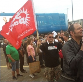 Socialist Party members join the counter-demonstration against the EDL in Liverpool. 3.6.17, photo by Liverpool Socialist Party