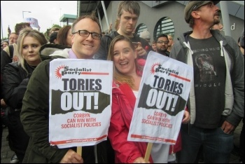 Socialist Party placards at the Gateshead Jeremy Corbyn rally on 5 June photo Elaine Brunskill
