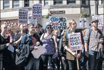 Demonstrating against the DUP-backed Tory minority government in Cardiff, 10.6.17, photo by Taz Winkel-Opleier