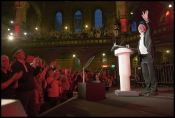 Jeremy Corbyn at another election rally, photo Paul Mattsson