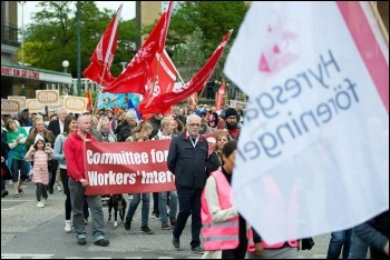 CWI Sweden members leading a community march against local violence, 5.6.17, photo by Rättvisepartiet Socialisterna (CWI Sweden)