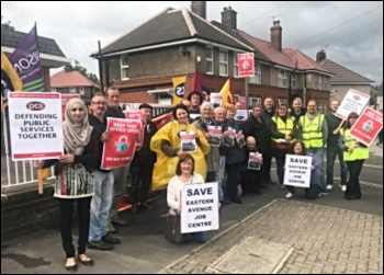 PCS members on strike outside Eastern Avenue Job Centre in Sheffield, June 2016, photo by Alistair Tice