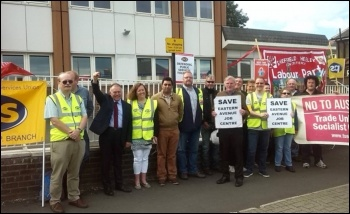 PCS members on strike outside Eastern Avenue Job Centre in Sheffield, June 2017, photo Alistair Tice