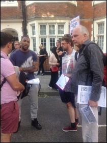 Justice for Grenfell! Socialist Party members distributing leaflets, photo by Sarah Wrack