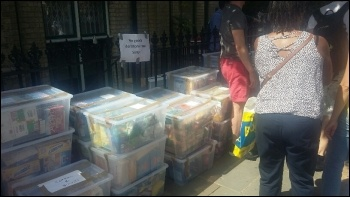 Donations to homeless Grenfell residents, photo by Bob Sulatycki