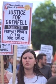 Grenfell demonstrator, 17.6.17, photo Mary Finch