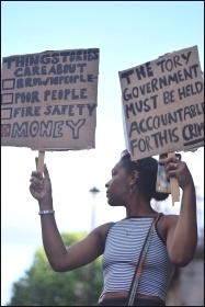 Grenfell demonstrator, 17.6.17  , photo Mary Finch