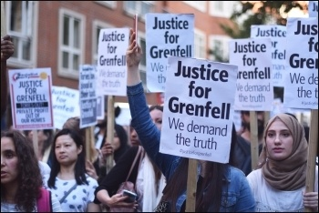 Grenfell fire demonstrators, 17.6.17;  Are we any closer to justice? photo Mary Finch
