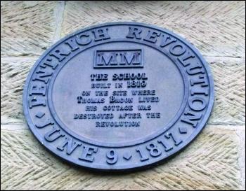 Plaque commemorating the Pentrich 'revolution'