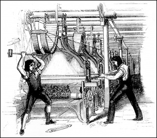 An engraving of Luddite framebreakers
