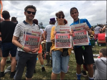Selling the Socialist at Glastonbury photo