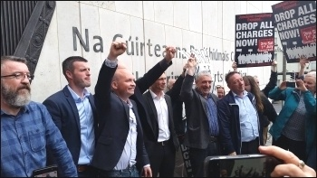 Court victory - Jobstown trial, defendants & supporters, with Paul Murphy 3rd from left, photo SP Ireland