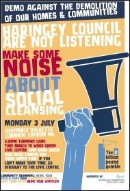 Haringey 3 July demo leaflet