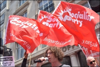 Socialist Party flags on the Tories Out demo 1.7.17, photo Mary Finch