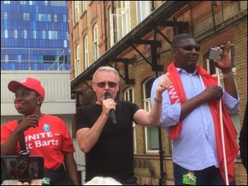 Barts Health Trust strike 4 July 2017 Len Hockey addresses the strike rally photo Paula Mitchell