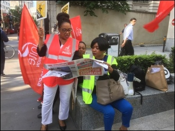 Barts Health Trust strike 4 July 2017 Barts picket line photo Paula Mitchell, photo Paula Mitchell