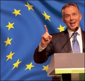 The Blairites back the EU and the Single Market to protect big business, not migrants - Tony Blair photo World Travel and Tourism Council/CC; EU flag photo Yanni Koutsomitis/CC; composite James Ivens