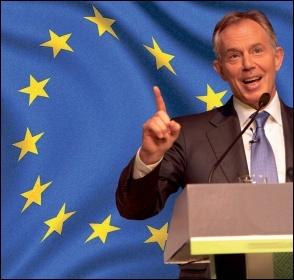 The Blairites back the EU and the Single Market to protect big business, not migrants - Tony Blair photo World Travel and Tourism Council/CC; EU flag photo Yanni Koutsomitis/CC; composite James Ivens