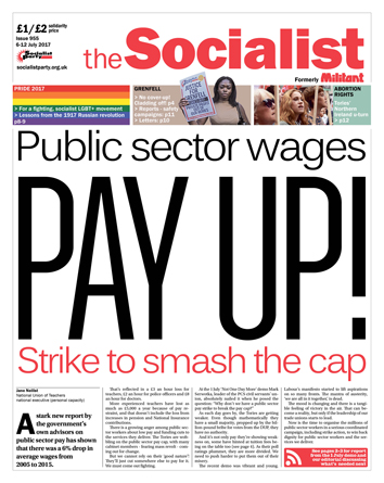 The Socialist issue 955 front page - Public sector wages: pay up!