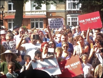 Barts NHS workers call on Jeremy Corbyn to back their strike, Chingford, east London, 6.7.17