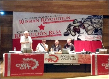 Socialist Party general secretary Peter Taaffe addressing the unity congress, photo by JB