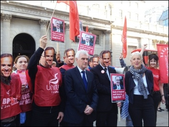 Shadow chancellor John McDonnell with Bank of England strikers, 1.8.17, photo by Judy Beishon