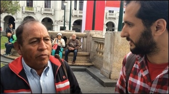 Professor Raul Almonacid Vlezco explains the demands of doctors and nurses striking in Peru, August 2017