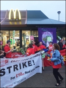 McDonald's strike picket in Crayford