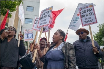 Barts NHS Trust workers striking for decent pay, photo Paul Mattsson