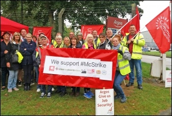 Argos pickets backing the McDonald's strike, photo by Iain Dalton