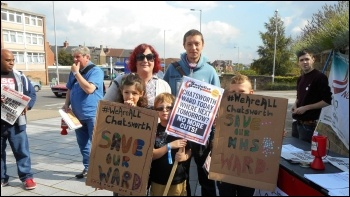 Marching to save Chatsworth ward, 2.9.17, photo Elaine Evans
