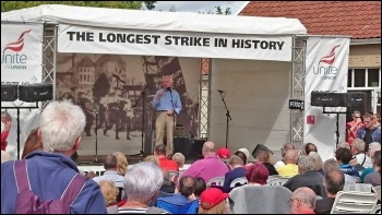 Shadow Chancellor John McDonnell speaking at Burston, 3.9.17, photo by Dave Nellist