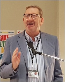 Len McCluskey speaking, NSSN rally 10.9.17, photo by Neil Cafferky
